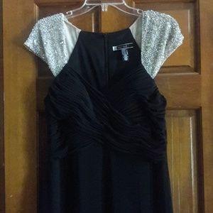 Black wedding prom formal dress, bead cap sleeves